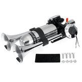 Trompete de buzina dupla 12V 24V com compressor de ar prata para carro van barco caminhão universal