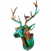 3D Wooden DIY Animal Deer Head Puzzle Art Model Home Office Wall Hanging Decoration