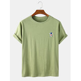 Mens Casual Astronaut Cartoon Solid Color Round Neck T-Shirts