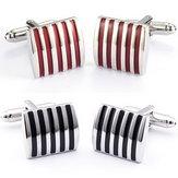 Men Cuff Links Color Stripe Metal Cobre Esmalte Square Acessórios para Camisa