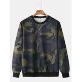 Herenmode casual camouflage sweatshirt met ronde hals