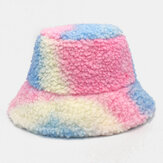 Kobiety Tie-dye Mix Color Lamb Hair Warm Casual Cute Bucket Hat