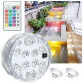 1PC/4PCS/8PCS Submersible RGB 10LED Underwater Light Fountain Swimming Pool Lamp+Remote Control