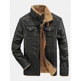 Jaqueta de couro PU à prova de vento com zíper de bolso duplo masculino com forro xerpa quente