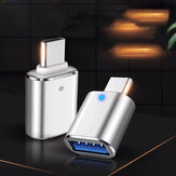 Bakeey USB to Type-c Adapter with Breathing Light Mobile Phone Aluminum Alloy Adapter