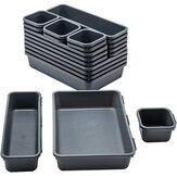 Jiuyuehua 1008 8 pezzi cassetti organizer Scatola set comò frigorifero organizer divisori ad incastro contenitori di stoccaggio set per ufficio domestico