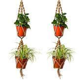 Canestro d'attaccatura del macrame del supporto del vaso da fiori della corda della iuta della doppia corda della canapa di 110cm