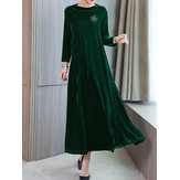 Elegant Women Velvet Long Sleeve Dress with Pockets