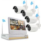 GUUDGO 4CH 1080P HD Draadloze WIFI IP-camera Beveiligingssysteem voor thuisgebruik NVR Outdoor CCTV IP-camera met LCD-monitor van 10,1 inch