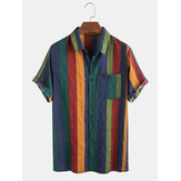 Camisas de manga corta de algodón transpirable fina para hombre Colorful Stripe Holiday