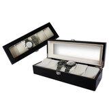 6 Slots caixas de relógio de café com janela travesseiro relógio caixa de armazenamento de exibição de jóias