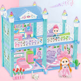 93pcs Princess Doll House Simulation Villa With Light Music Furniture Assembled Toys