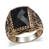 Vintage Personality Men Ring Black Rectangle Gem Mount Rings
