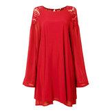 Mini vestido ocasional rendas chiffon lanterna manga sem encosto para as mulheres