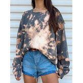 Women Tie Dye Round Neck Loose Pullover Long Sleeve Sweatshirts