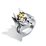 Punk Finger Ring Titanium Steel Cross Anubis Head Jewelry