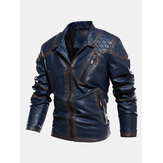 Mens Zip Front Velvet Lined PU Jacket With Zipped Welt Pocket