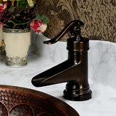 النفط مفروك البرونزية شلال حمام حوض صنبور مفرد مقبض هول خلاط صنبور