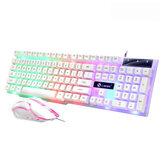 104 مفتاح USB لوحة مفاتيح سلكية للألعاب وماوس مجموعة إضاءة خلفية RGB للكمبيوتر المحمول الكمبيوتر