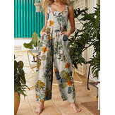 Mulheres Floral Print Cotton Holiday Casual Wide Leg Jumpsuit