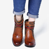SOCOFY Pattern Brown Buckle Deco Stacked High Heel Round Toe Zipper Ankle Boots