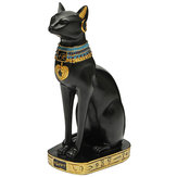 9.6inch Resin Vintage Egyptian Bastet Goddess Figurine Black Cat Pharaoh Statue Epoxy