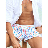 Herren Stripe Badeshorts Kordelzug Schnelltrocknende Holiday Mini Shorts für Running Lounge Shorts