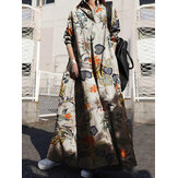 Women Retro Floral Print Cotton Turn-Down Collar Loose Shirt Dress With Pocket