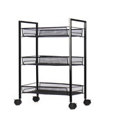3/4 Layers Movable Shelf Kitchen Organizer Iron Storage Baskets Removable Holder with Universal Wheel Trolley for Kitchen Bathroom Bedroom