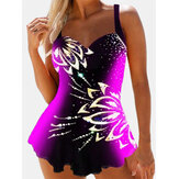 Plus Size Swimwear Colorblock Floral Print Slimming Cover Belly Swimdress