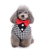 Formal Dog Bow Ties Tuxedo Bandana Collar with Bowtie Adjustable Neckerchief for Party