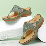 LOSTISY Women Flower Embroidery Toe Ring Comfy Casual Daily Summer Wedge Sandals