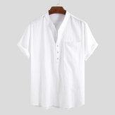 Hombres 100% algodón Stand Collar Fresh Casual Simple suelto