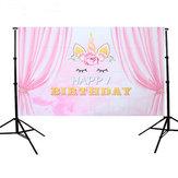 5×3FTピンクカーテンユニコーン誕生日テーマ写真背景スタジオ支柱背景