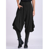 Women Solid Color Zipper Fly Narrow Cuff Bloomers Pants With Pocket