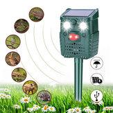 KCASA-WH528 Repelente de animais ultrassônico solar ao ar livre Controle de pragas Morcegos Pássaros Cães Gatos Repelente com luz intermitente