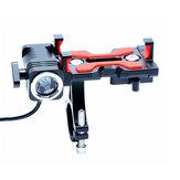 自転車のヘッドライトが付いている推薦のアルミ合金の電話ホールダー4.5-6.4インチの電話クリップは循環のために立てます