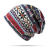 Damen Baumwolle Ethnic Style Beanie Hut Warm Soft Dual Use Kragen Schal und Hut