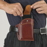 Men Genuine Leather Retro 5.3 Inch Small Phone Bag Solid Color Belt Bag Waist Bag