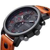 カレンファッション レジャー スポーツマンレザー ブラック 合金アナログ  クォーツ腕時計