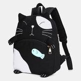Women Cute Cat Canvas Large Capacity Backpack