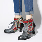 SOCOFY Embossed Splicing Tribal Pattern Buckle Deco Lace-up Zipper Bottines doublées chaudes