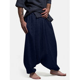 Banggood Design Mens Solid Color Elastic Waist Drop-Crotch Pants