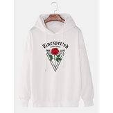 Casual Rose & Letter Graphics Long Sleeve Drop Shoulder Hoodies For Men