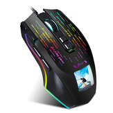 HXSJ J500 Wired Gaming Mouse USB RGB Game Mouse with Display Screen 6 Adjustable DPI for Desktop Computer Laptop PC