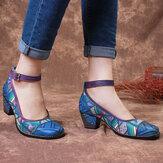 SOCOFY Bohemia Натуральная Кожа Соединение Colorful Геометрический рисунок Шаблон Комфортные туфли-лодочки с пряжкой и ремешком