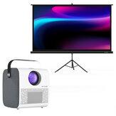 BlitzWolf® BW-VP5 Projektör ile BW-VS1 Projektör Ekran 3800 Lümen 1280 * 720P HD Bluetooth Filmler için Ev Sineması Outdoor İç Mekan