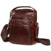 Men Genuine Leather Business Multi-pocket Shoulder Bag Phone Bag