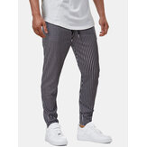 Mens Classic Stripe Print Pocket Drawstring Casual Pants