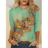 Plus Size Women Floral Butterfly Print Round Neck Casual Long Sleeve Blouses